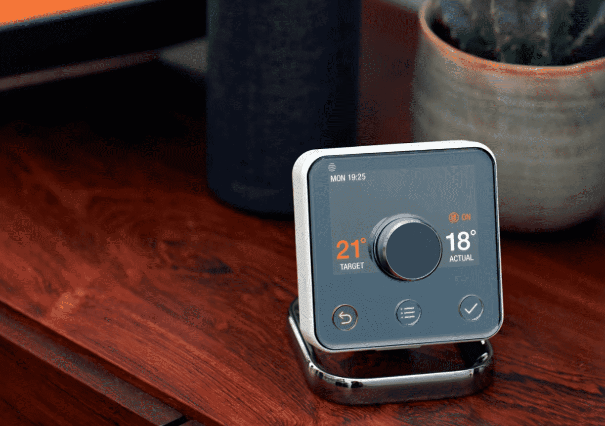 the hive smart thermostat on table