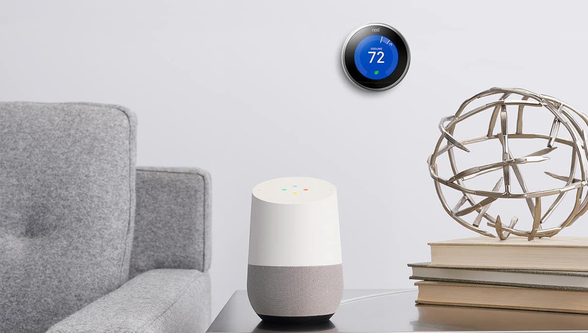 nest and google home in home